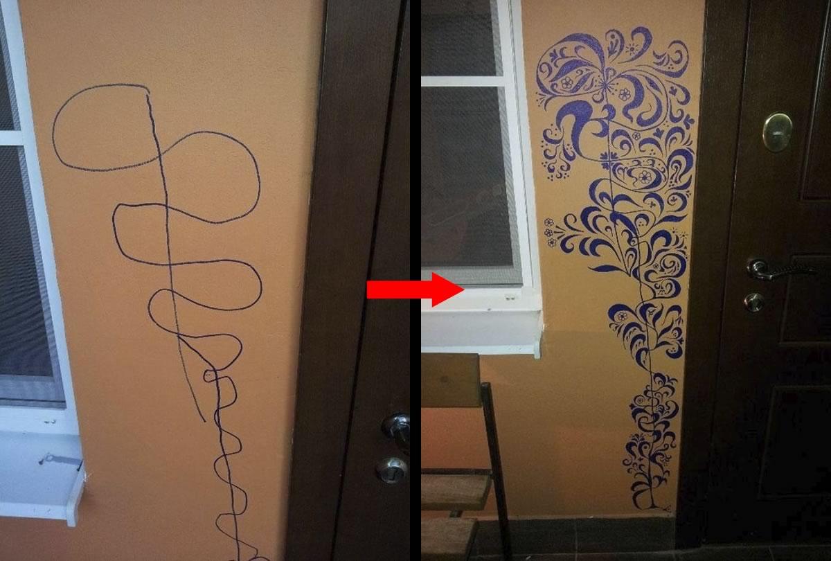 mama convierte garabato de pared hecho por su hijo en arte resultado