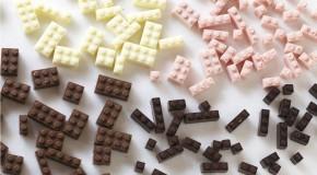 piezas de lego hechas de chocolate