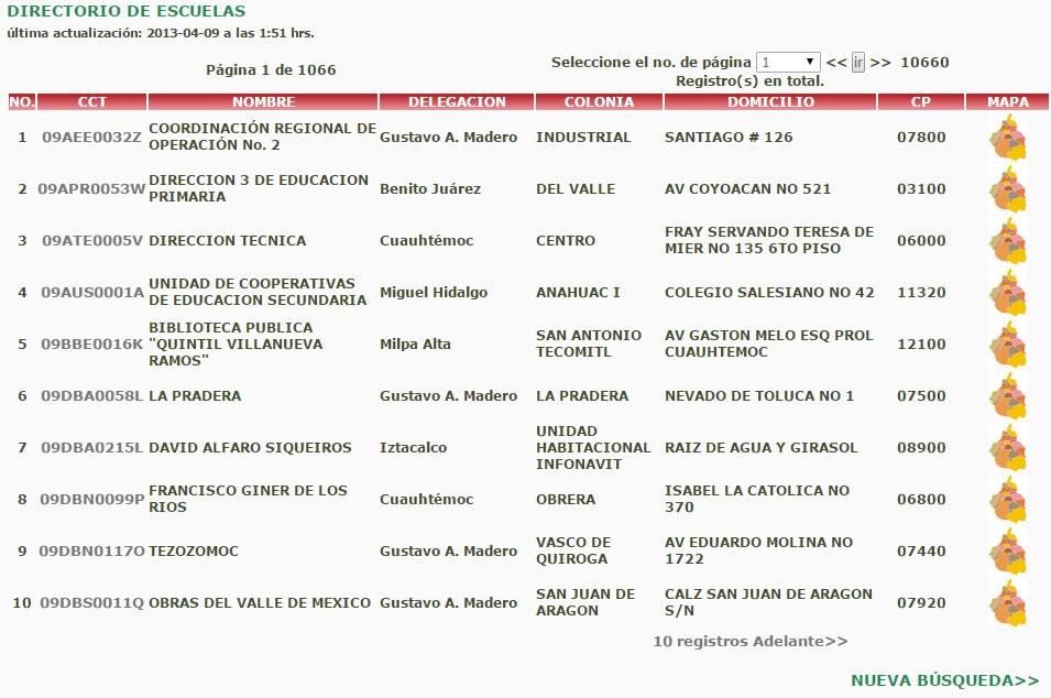 directorio escuelas en mexico resultados