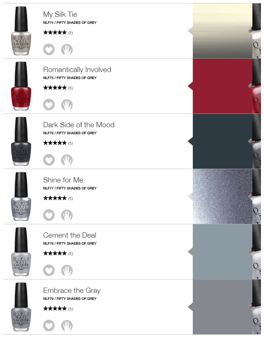 esmaltes para unas de fifty shades of grey - colores