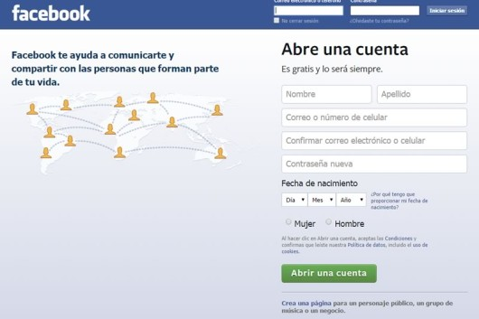 facebook iniciar sesion en red social log in
