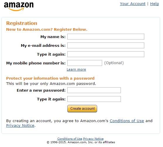 tutorial como crear una cuenta de amazon - paso 2
